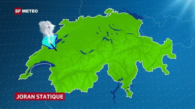 Eine Schweizerkarte. Der blaue Fleck erstreckt sich mit einer Zunge von den Jurahöhen ins Mittelland hinunter. Der Wind hat auf Nordwest gedreht.