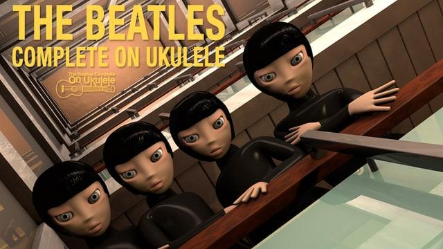Das Cover der Beatles-Platte zeigt vier Beatlespuppen im Manga-Style, mit grossen Augen und kleinen Nasen.