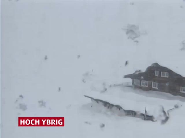Schneesturm im Skigebiet
