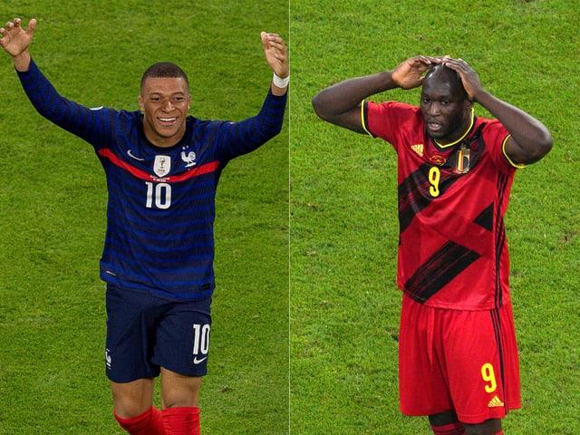 Fankreichs Kylian Mbappé und Belgiens Romelu Lukaku.