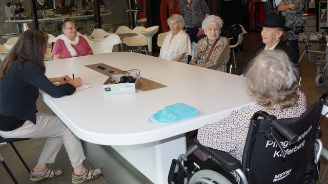 Fünf Damen sitzen an grossem ovalen Tisch.