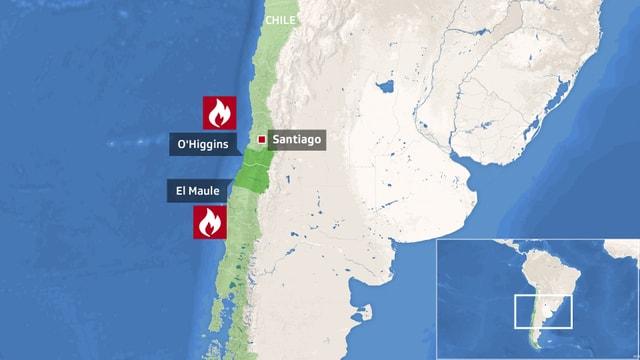 Zu sehen eine Landkarte Chiles.