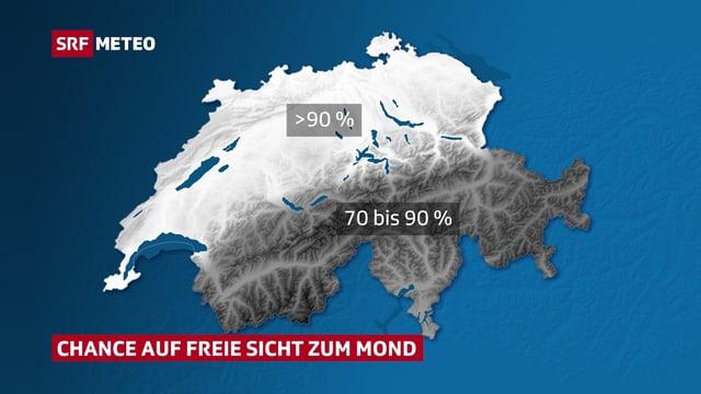 Karte der Schweiz: im Norden über 90 % Wahrscheinlichkeit für freie Sicht zum Himmel.