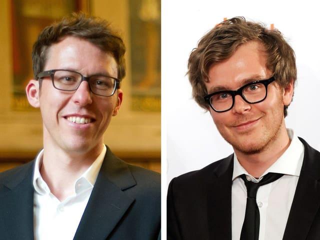 Bildmontage: Porträt zweier lachender Männer mit markenten Brillen.