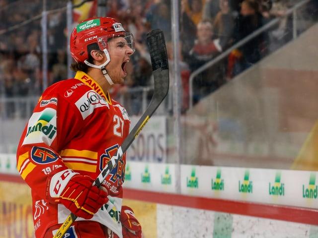 Die Chancen stehen gut, dass Yannick Rathgeb und Biel am Dienstag in der Champions Hockey League jubeln dürfen.