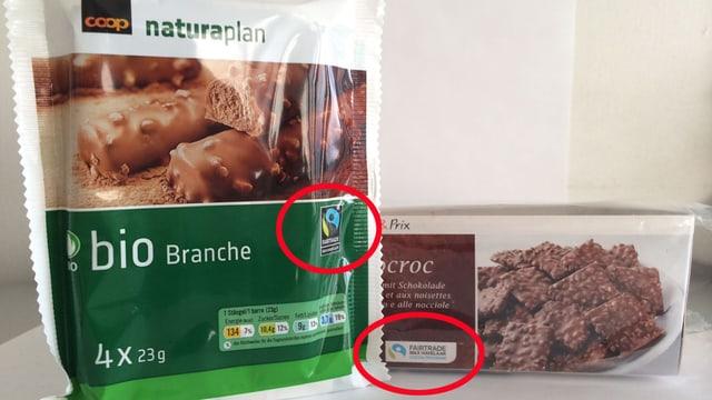 Zwei unterschiedliche Schokoladenprodukte mit unterschiedlichen Havelaar-Logos