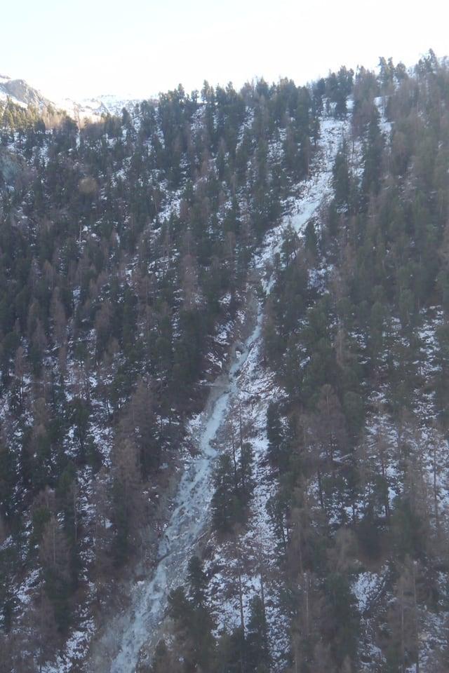 Die von der Walliser Kantonspolizei bezeichnete Unfallstelle bei Zermatt.
