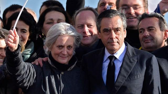 Penelope Fillon mit Ehemann an einer Wahlveranstaltung Anfang März.