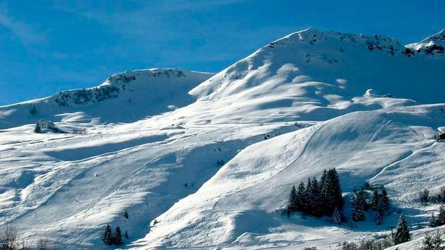 Das Skigebiet an einem schönen Wintertag.