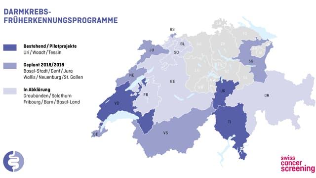 Schweizerkarte mit je nach Früherkennungsprogramm unterschiedlich eingefärbten Kantonen