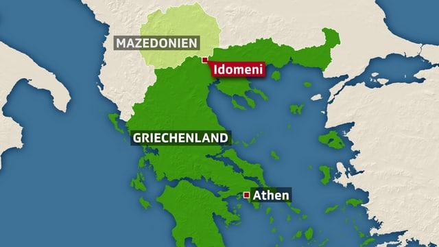 Karte von Griechenland und Mazedonien