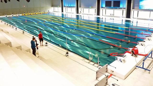 Blick auf das olympische Becken in der neuen Sportarena im Campus Sursee.