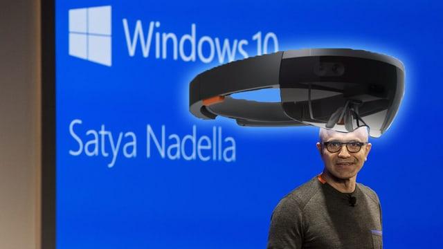 Collage mit Portrait von Nadella und Bild der neuen Brille