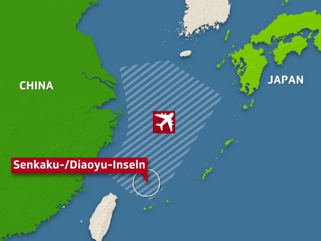 Die von China neu geschaffene Luftraumüberwachungszone
