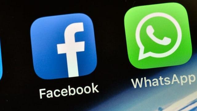 Logos da Facebook e WhatsApp.
