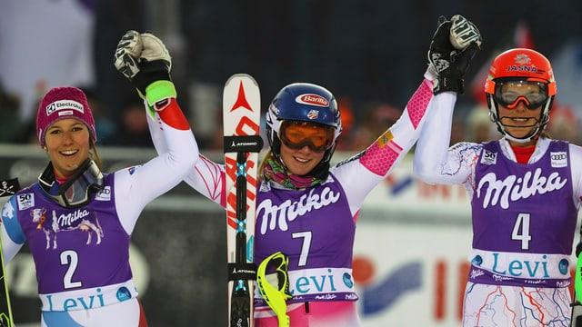 da san. Wendy Holdener, Mikaela Shiffrin e Petra Vlhova.