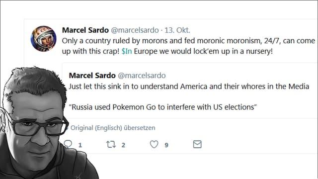 Grafisches Porträt von Sardo vor einem seiner medienfeindlichen Tweets.