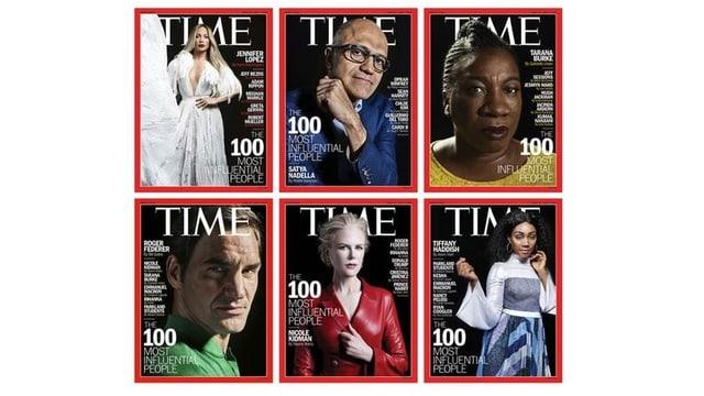 Die sechs Titelbilder der Time.