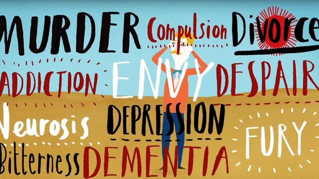 """Eine Illustration: Ein Mann wird von Begriffen wie """"Depression"""", """"Neurose"""" und """"Scheidung"""" verdeckt."""