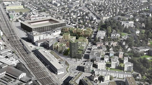 Visualisierung des neuen Quartiers inklusive Fussballstadion