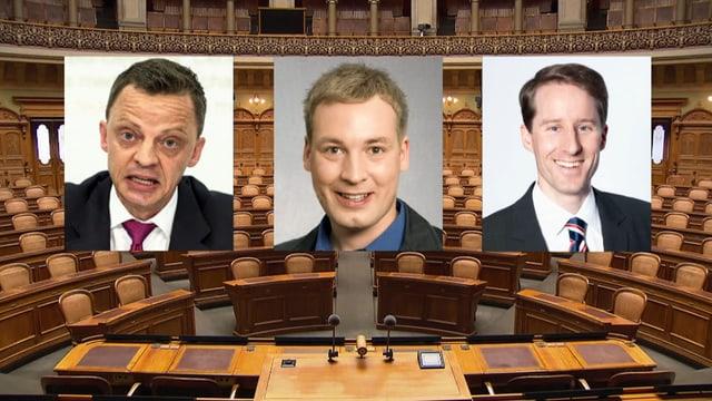 Foto der drei Politiker, Nationalratssaal im Hintergrund.