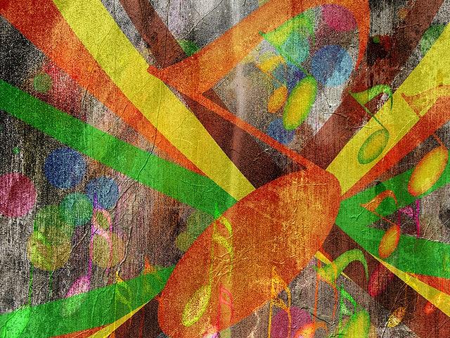 Eine farbige Illustration mit Musiknoten.