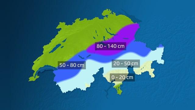 Schweizerkarte mit den Schneehöhen über den Alpen in 2000 Metern Höhe. Der Osten ist bevorzugt.