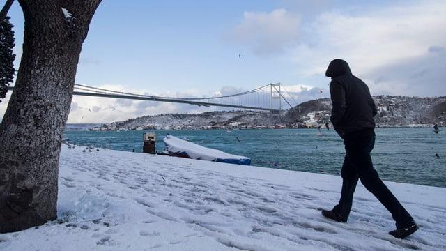 Naiv datiers da la punt Fatih Sultan Mehmet ad Istanbul.