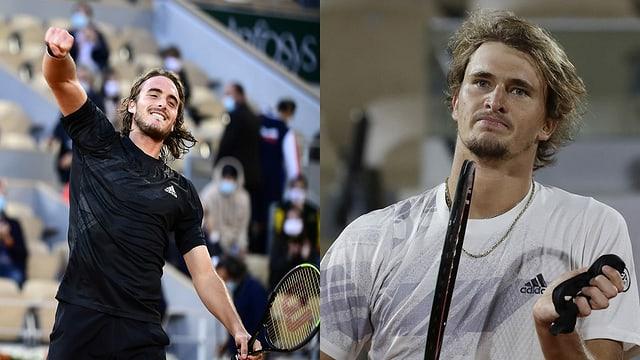 purtrets da Stefanos Tsitsipas ed Alexander Zverev, dus giugaders da tennis