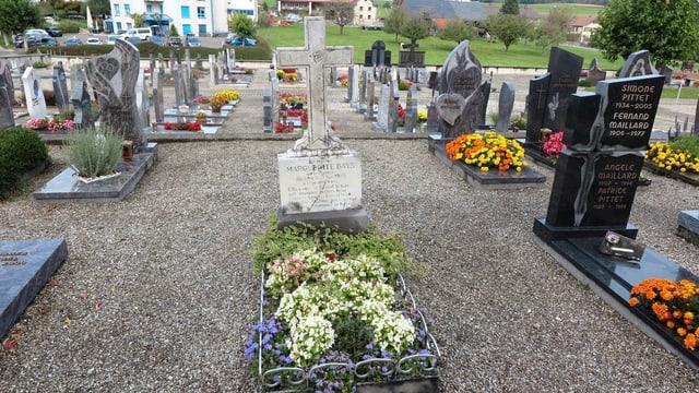 Blick auf einen kleinen Friedhof.
