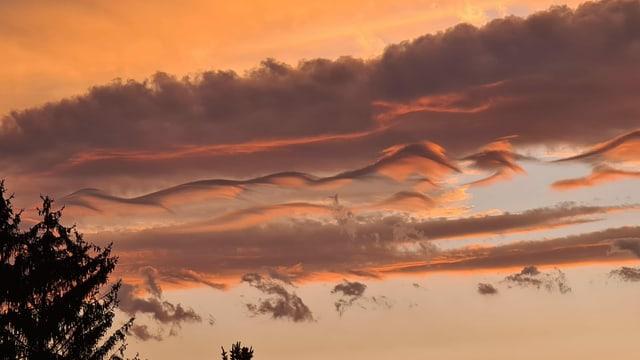 Die feinen Wolkenfäden nennen sich Asperitaswolken.
