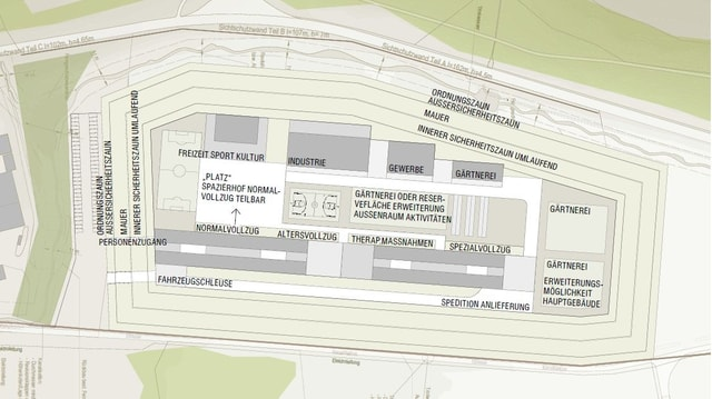Plan des geplanten Gefängnisses in Cazis.
