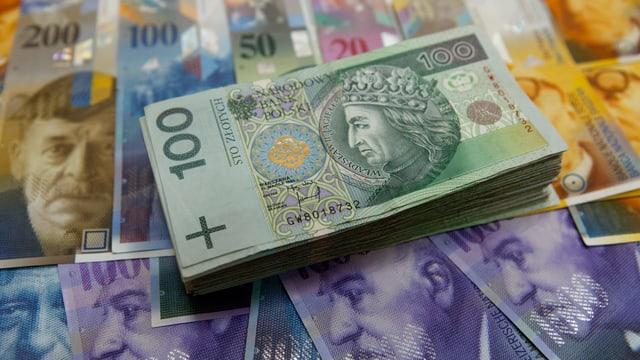 Ein Stapel 100-Zloty-Noten auf einer Auslage von verschiedenen Schweizer Banknoten.