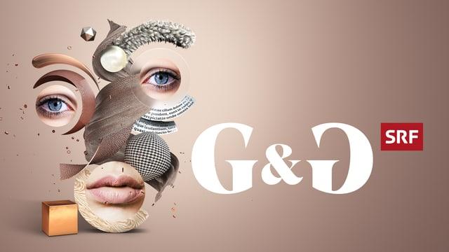 Menschliches Gesicht aus verschiedenen Teilen zusammengesetzt vor grauem Hintergrund.
