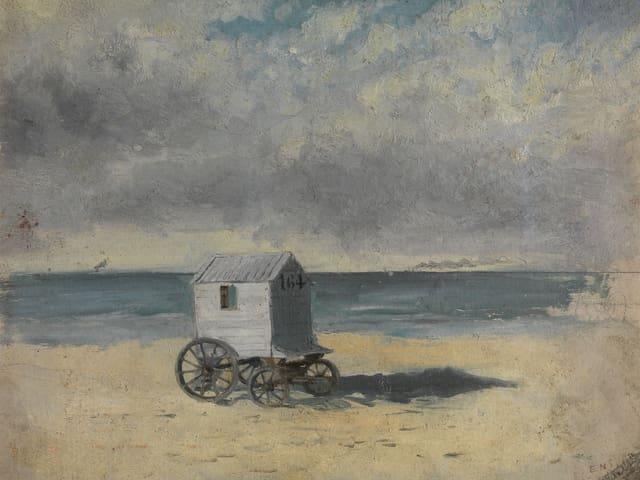 Hölzerner Badewagen auf Strand an belgischer Küste.