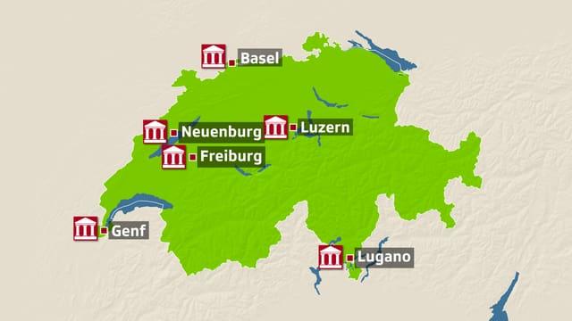 Schweizer Karte, die die betroffenen Universitäten zeigt