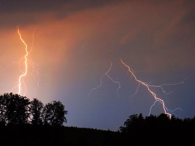 Zwei Blitze am Nachthimmel über Wiese und Wald.