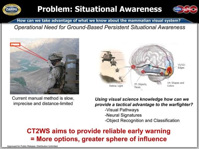 Ein Bild der Defense Advanced Research Projects Agency (DARPA) zeigt einen US-Soldaten auf der linken Seite und ein Gehirn auf der rechten.