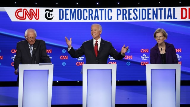 Ils trais favurits, Sanders, Biden e Warren.