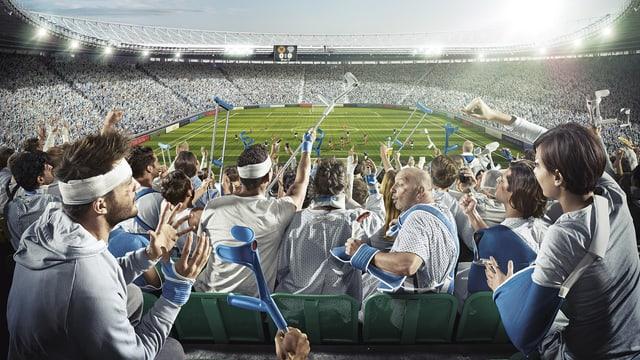 Verletzte in einem Stadion.