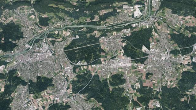 Grossraum Aarau-Lenzburg aus der Luft