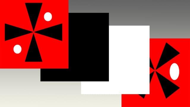 Die vier Einzelbilder eines animierten GIFs.