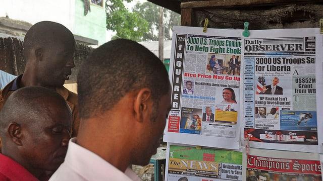 Drei Männer in Liberia lesen Wandzeitung