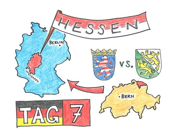 Umrisse der Bundesrepublik Deutschland und der Schweiz. Daneben der Schriftzug «Tag 7»