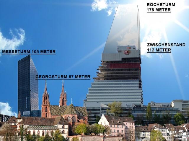 Rocheturm neben Messeturm und Münschter