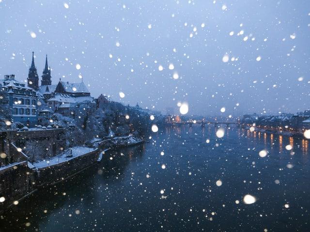 Schneegestöber in Basel