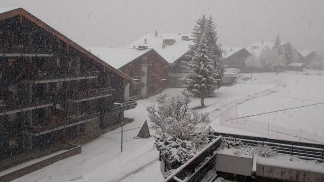 Schneegestöber in Anzère.