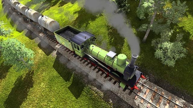 Eine Dampflokomotive fährt auf einem Geleise.