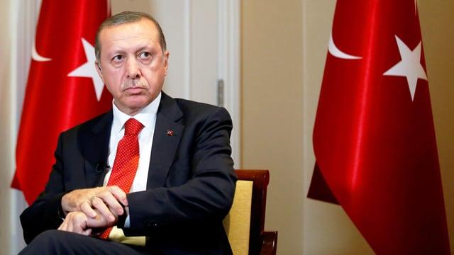 Erdogan vor Fahnen