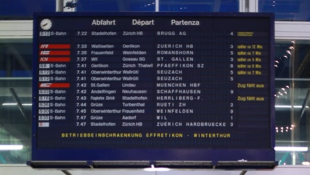 Tabla cun partenzas da tren.